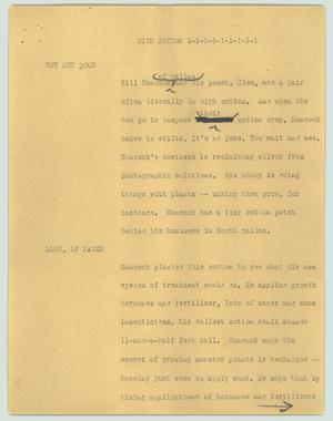 Primary view of object titled '[News Script: High cotton]'.