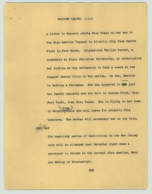 Primary view of object titled '[News Script: Marilyn leaves]'.