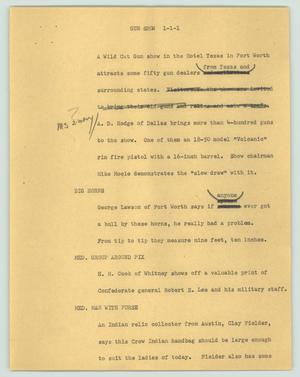 Primary view of object titled '[News Script: Gun show]'.