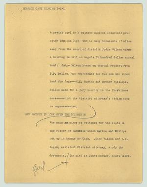 Primary view of object titled '[News Script: Benjack Cage hearing]'.