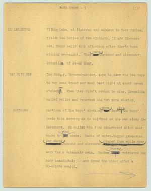 Primary view of object titled '[News Script: Boys drown]'.