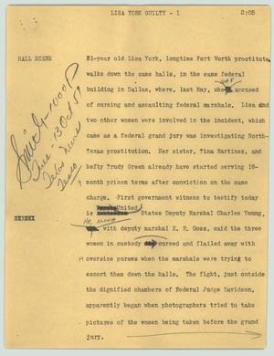 Primary view of object titled '[News Script: Lisa York guilty]'.