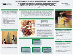 Primary view of object titled 'The Cultural Abuse of African Women Exposed: A Work in Progress'.
