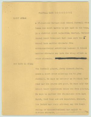 Primary view of object titled '[News Script: Football case]'.