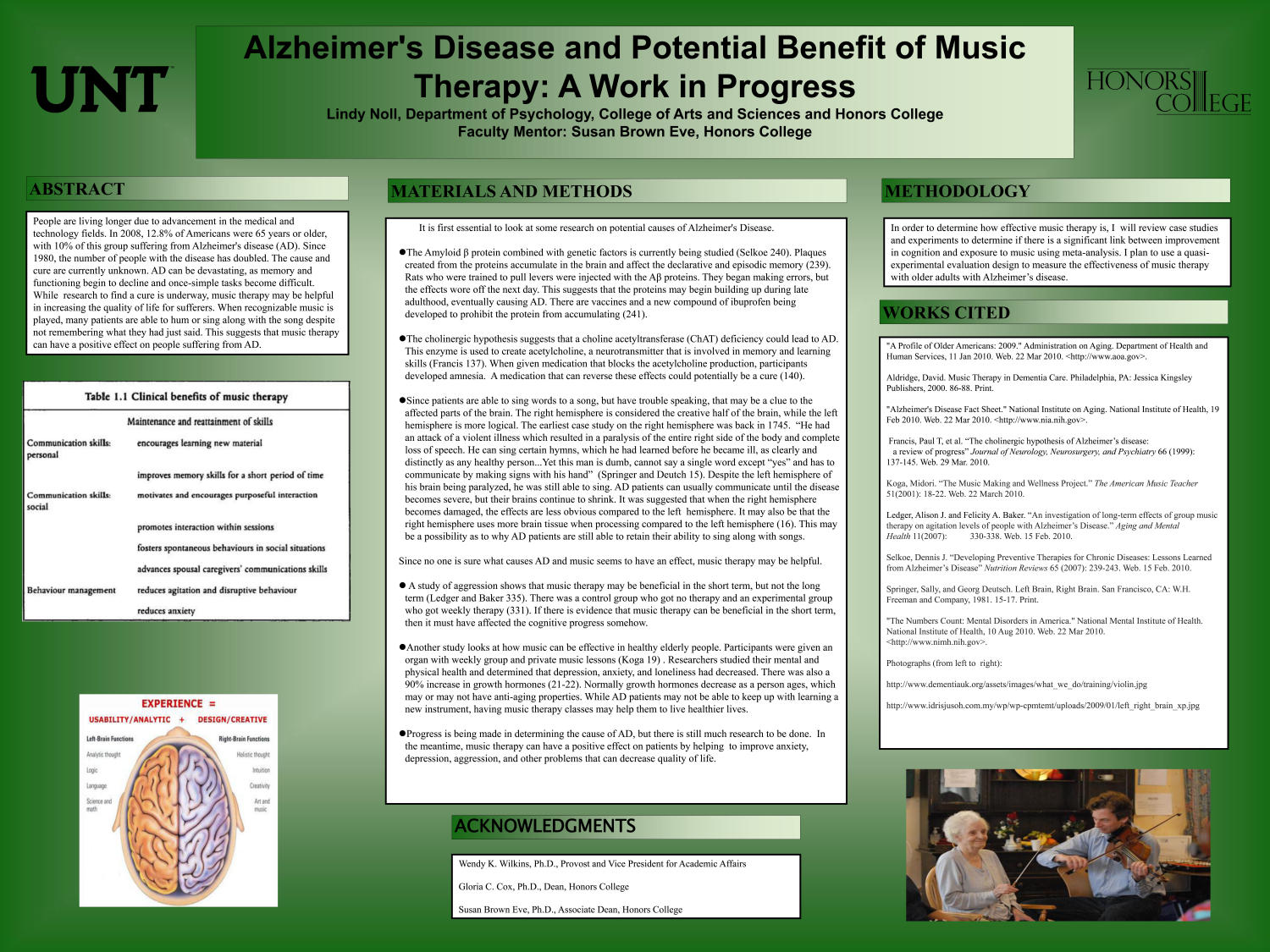 Alzheimer's Disease and Potential Benefit of Music Therapy: A Work in Progress                                                                                                      [Sequence #]: 1 of 1