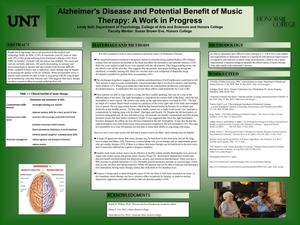 Primary view of object titled 'Alzheimer's Disease and Potential Benefit of Music Therapy: A Work in Progress'.