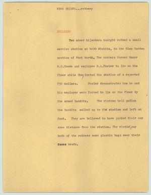 Primary view of object titled '[News Script: News briefs...robbery]'.