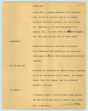 Primary view of object titled '[News Script: Watson road]'.
