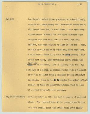 Primary view of object titled '[News Script: Deer dehorning]'.