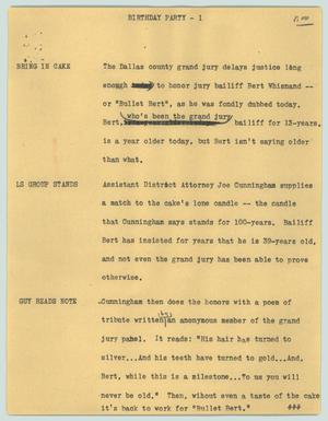 Primary view of object titled '[News Script: Birthday party]'.