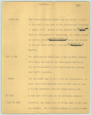 Primary view of object titled '[News Script: Wrestling]'.