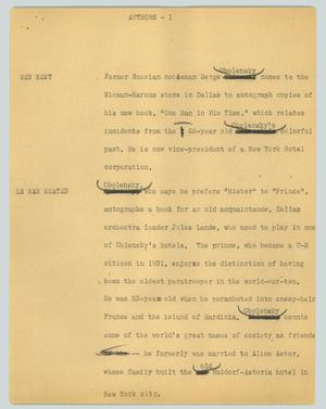 Primary view of object titled '[News Script: Authors]'.