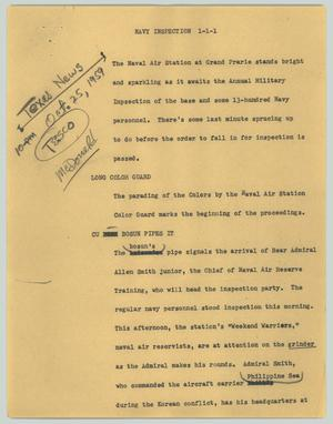 Primary view of object titled '[News Script: Navy inspection]'.