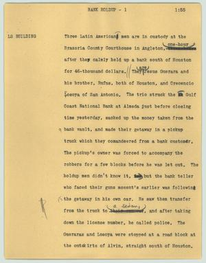 Primary view of object titled '[News Script: Bank holdup]'.