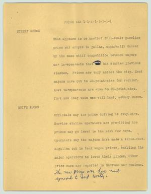 Primary view of object titled '[News Script: Price war]'.