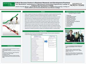 Primary view of object titled 'Critical Success Factors in Business Research and Development Practices'.