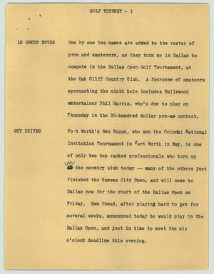 Primary view of object titled '[News Script: Golf tourney]'.