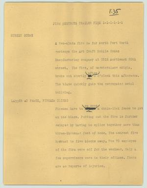 Primary view of object titled '[News Script: Fire destroys trailer firm]'.