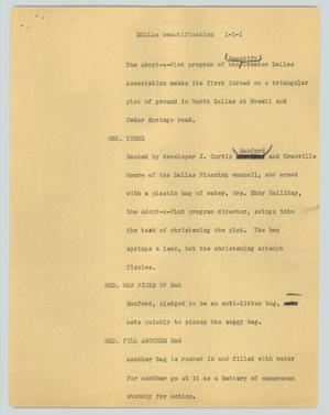 Primary view of object titled '[News Script: Dallas beautification]'.