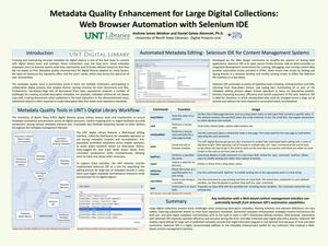 Primary view of object titled 'Metadata Quality Enhancement for Large Digital Collections: Web Browser Automation with Selenium IDE'.