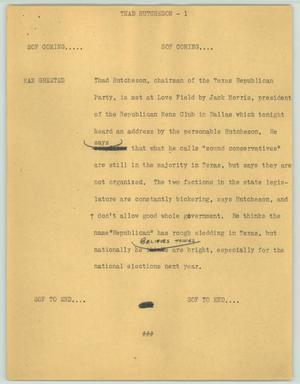 Primary view of object titled '[News Script: Thad Hutcheson]'.