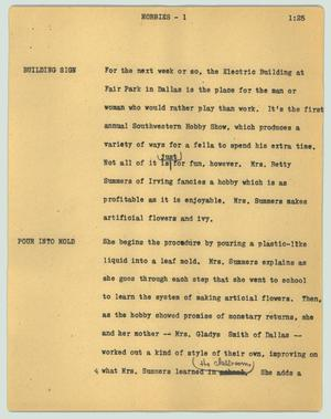 Primary view of object titled '[News Script: Hobbies]'.