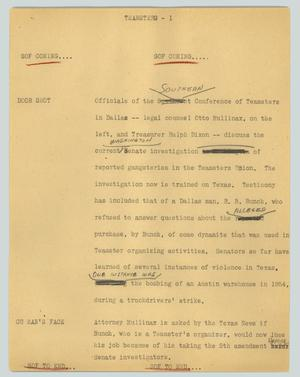 Primary view of object titled '[News Script: Teamsters]'.
