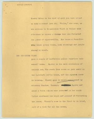 Primary view of object titled '[News Script: Sherry]'.