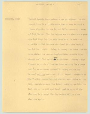 Primary view of object titled '[News Script: Comsnrs. court]'.