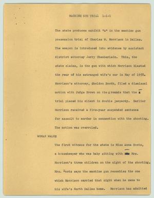 Primary view of object titled '[News Script: Machine gun trial]'.