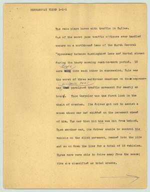Primary view of object titled '[News Script: Expressway tieup]'.