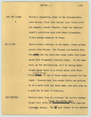 Primary view of object titled '[News Script: Becera]'.
