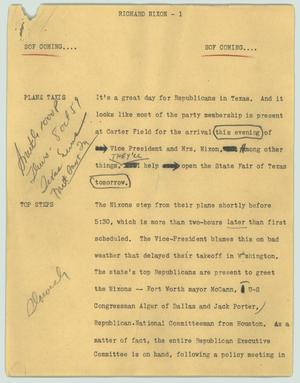 Primary view of object titled '[News Script: Richard Nixon]'.