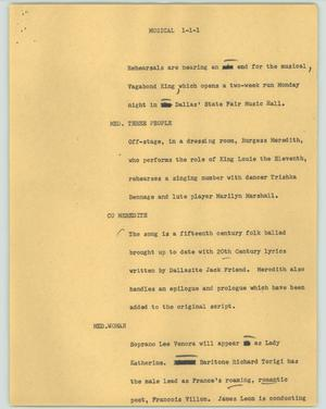 Primary view of object titled '[News Script: Musical]'.