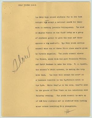 Primary view of object titled '[News Script: Poly youths]'.