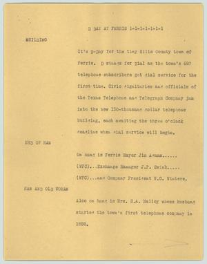Primary view of object titled '[News Script: D Day at Ferris]'.