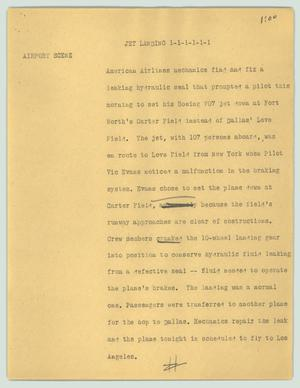 Primary view of object titled '[News Script: Jet landing]'.