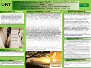 Primary view of object titled 'Self-Motivation among College Students Who Have Experienced the Death of a Parent: A Work in Progress'.