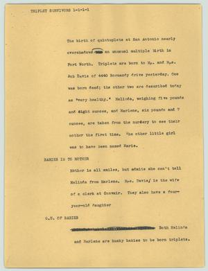 Primary view of object titled '[News Script: Triplet survivors]'.
