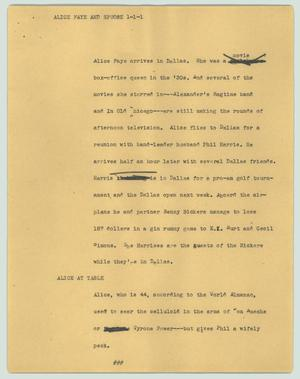 Primary view of object titled '[News Script: Alice Faye and spuose]'.