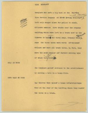 Primary view of object titled '[News Script: The burglary]'.