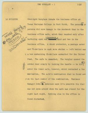 Primary view of object titled '[News Script: TWC burglary]'.