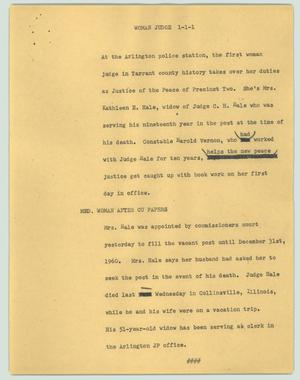 Primary view of object titled '[News Script: Woman judge]'.