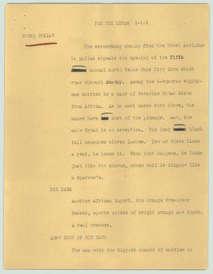 Primary view of object titled '[News Script: For the birds]'.