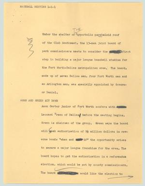 Primary view of object titled '[News Script: Baseball meeting]'.