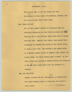 Primary view of object titled '[News Script: Immigrants]'.