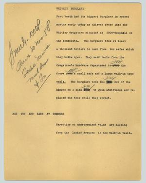 Primary view of object titled '[News Script: Whitley burglary]'.