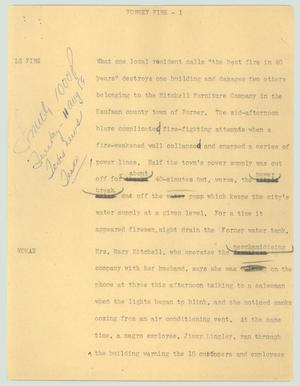 Primary view of object titled '[News Script: Forney fire]'.