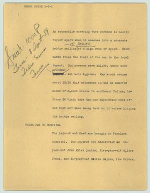Primary view of object titled '[News Script: Wreck scene]'.