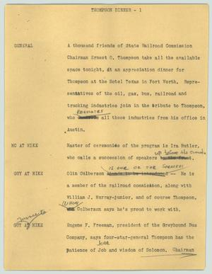 Primary view of object titled '[News Script: Thompson dinner]'.